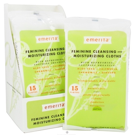 DROPPED: Emerita - Feminine Hygiene Cleansing Moisturizing Cloths with Refreshing Soothing Organics - 15 Cloth(s) CLEARANCE PRICED