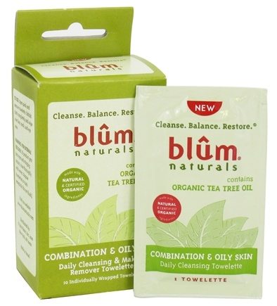 DROPPED: Blum Naturals - Daily Cleansing & Makeup Remover Towelettes Combination & Oily Skin - 10 Towelette(s)