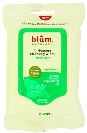 DROPPED: Blum Naturals - All-Purpose Cleansing Wipes Fresh Scent - 15 Wipe(s) CLEARANCE PRICED