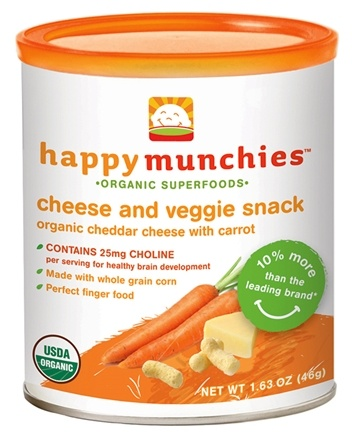 DROPPED: HappyBaby - Happy Munchies Organic Cheese & Veggie Snack Organic Cheddar Cheese With Carrot - 1.63 oz.