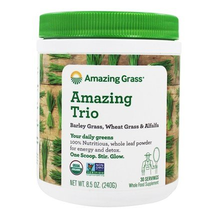 Amazing Grass - The Amazing Trio Barley, Wheat Grass & Alfalfa Whole Food Drink Powder - 8.5 oz.