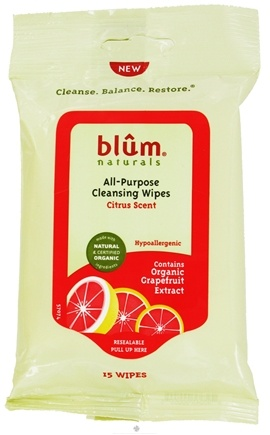 DROPPED: Blum Naturals - All-Purpose Cleansing Wipes Citrus Scent - 15 Wipe(s) CLEARANCE PRICED