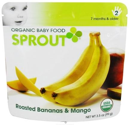 DROPPED: Sprout - Organic Baby Food Stage 2 Intermediate Simple Combination Roasted Bananas & Mango - 3.5 oz. CLEARANCE PRICED