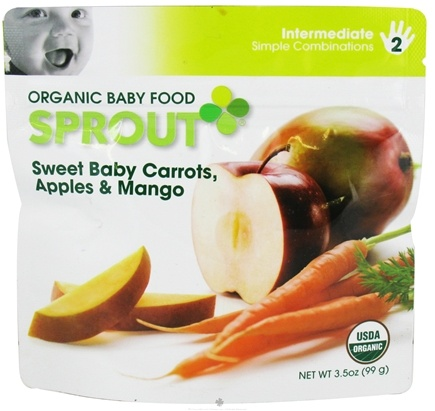 DROPPED: Sprout - Organic Baby Food Stage 2 Intermediate Simple Combination Sweet Baby Carrots, Apples & Mango - 3.5 oz.