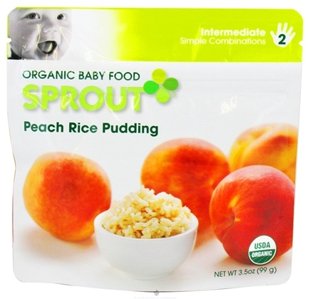 DROPPED: Sprout - Organic Baby Food Stage 2 Intermediate Simple Combination Peach Rice Pudding - 3.5 oz. CLEARANCE PRICED