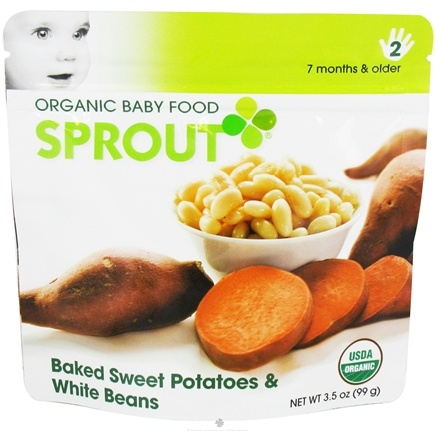 DROPPED: Sprout - Organic Baby Food Stage 2 Intermediate Simple Combination Baked Sweet Potatoes & White Beans - 3.5 oz.