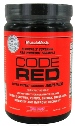 DROPPED: MuscleMeds - Code Red Super-Potent Workout Amplifier Fruit Punch - 300 Grams CLEARANCE PRICED