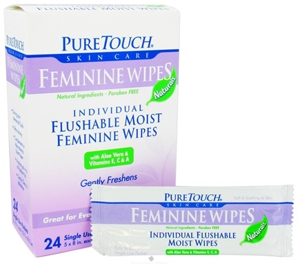 DROPPED: Pure Touch Skin Care - Individual Flushable Moist Feminine Wipes Naturals - 24 Packet(s) CLEARANCE PRICED