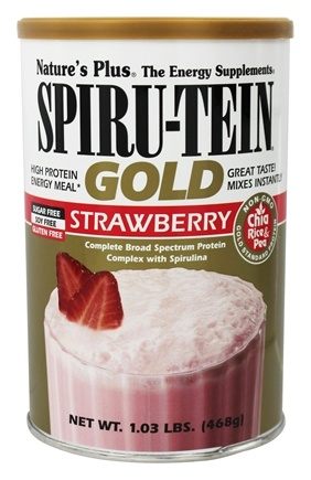 Nature's Plus - Spiru-Tein Gold High Protein Energy Meal Powder Strawberry - 1.03 lbs.