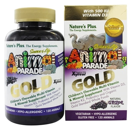 Nature's Plus - Source of Life Animal Parade Gold Children's Chewable Multi-Vitamin & Mineral Natural Grape Flavor - 120 Chewable Tablets