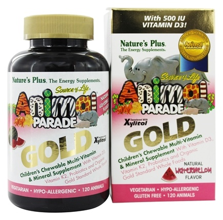 Nature's Plus - Source of Life Animal Parade Gold Children's Chewable Multi-Vitamin & Mineral Natural Watermelon Flavor - 120 Chewable Tablets