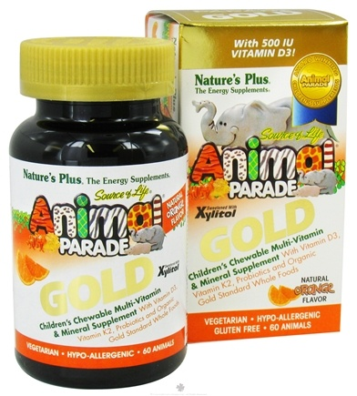DROPPED: Nature's Plus - Source of Life Animal Parade Gold Children's Chewable Multi-Vitamin & Mineral Natural Orange Flavor - 60 Chewable Tablets CLEARANCE PRICED