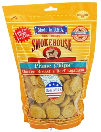 DROPPED: Smokehouse Pet Products - Prime Chips Dog Treats Chicken Breast & Beef Ligaments - 16 oz.