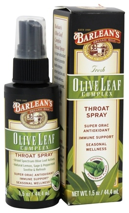 Barlean's - Fresh Olive Leaf Complex Throat Spray Soothing Peppermint Flavor - 1.5 oz.