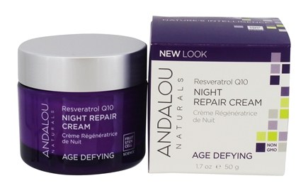 Andalou Naturals - Night Repair Cream Age-Defying Fruit Stem Cell with Resveratrol Q10 - 1.7 oz.