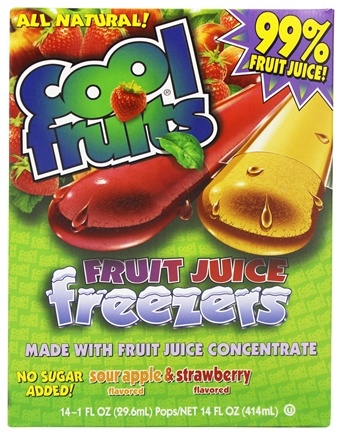 DROPPED: Cool Fruits - Cool Fruits Fruit Juice Freezers 14 Sour Apple & Strawberry Flavored Freeze Pops - 14 oz.
