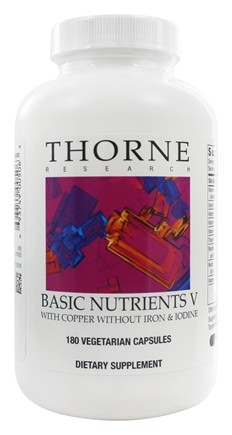Thorne Research - Basic Nutrients V with Copper without Iron & Iodine - 180 Vegetarian Capsules