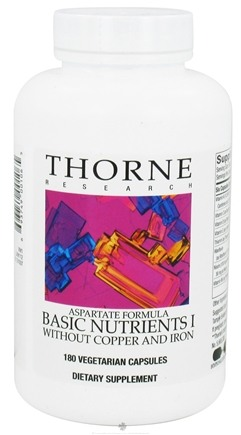 DROPPED: Thorne Research - Basic Nutrients I Aspartate Formula without Copper and Iron - 180 Vegetarian Capsules