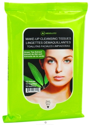DROPPED: Nicka K Cosmetics - Absolute Make-Up Cleansing Tissues Green Tea Extract - 10 Tissue(s) CLEARANCE PRICED
