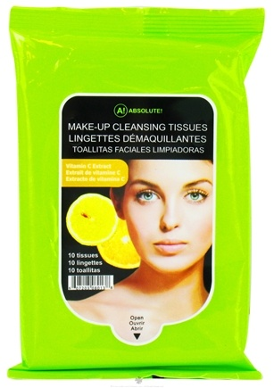 DROPPED: Nicka K Cosmetics - Absolute Make-Up Cleansing Tissues Vitamin C Extract - 10 Tissue(s) CLEARANCE PRICED