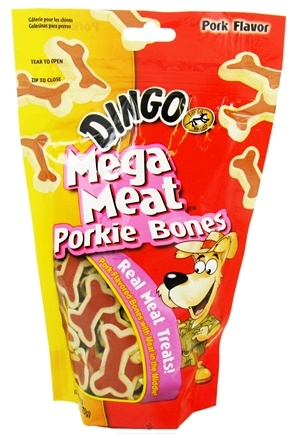 DROPPED: Dingo - Mega Meat Dog Treats Porkie Bones - 6 oz. CLEARANCE PRICED