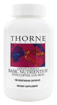 Thorne Research - Basic Nutrients IV Citrate Formula with Copper and Iron - 180 Vegetarian Capsules