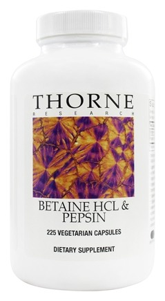 Thorne Research - Betaine HCL & Pepsin - 225 Vegetarian Capsules