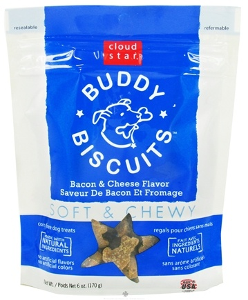 DROPPED: Cloud Star - Buddy Biscuits Soft & Chewy Dog Treats Bacon & Cheese - 6 oz. CLEARANCE PRICED
