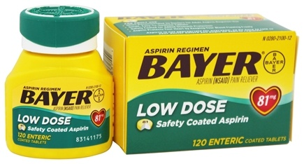 Bayer Healthcare - Bayer Low Dose Safety Coated Aspirin 81 mg. - 120 Enteric-Coated Tablets