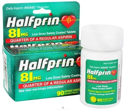 DROPPED: Halfprin - Adult Quarter Aspirin Low Dose Safety Coated Tablet 81 mg. - 90 Enteric-Coated Tablets