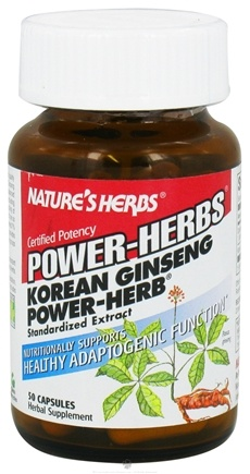 DROPPED: Nature's Herbs - Power Herb Korean Ginseng - 50 Capsules CLEARANCE PRICED