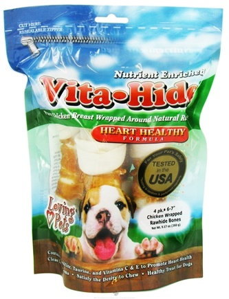 DROPPED: Loving Pets - Vita-Hide Heart Healthy Rawhide Dog Treats 6 in. - 4 Pack CLEARANCE PRICED