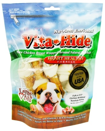 DROPPED: Loving Pets - Vita-Hide Heart Healthy Rawhide Dog Treats 4 in. - 8 Pack CLEARANCE PRICED