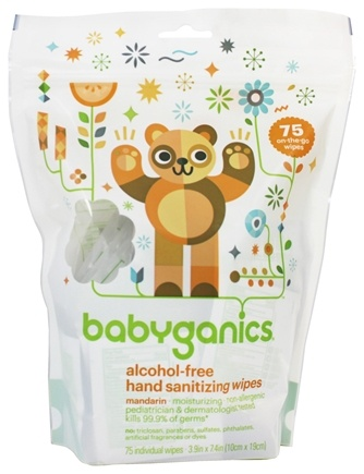 BabyGanics - Hand Sanitizing Wipes On The Go Alcohol Free Mandarin - 75 Packet(s)