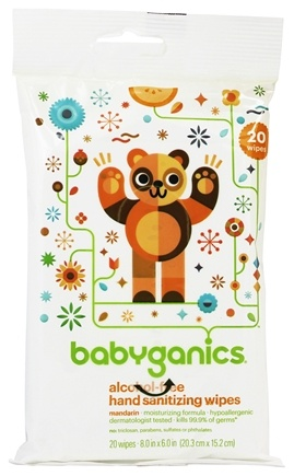 BabyGanics - Hand Sanitizing Wipes Alcohol Free Mandarin - 20 Wipe(s) Formerly The Germinator Light Citrus Scent