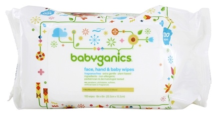BabyGanics - Face, Hand & Baby Wipes Fragrance Free - 100 Wipe(s)