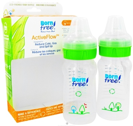 DROPPED: BornFree - Active Flow Eco Deco Baby Bottle BPA Free Twin Pack - CLEARANCE PRICED