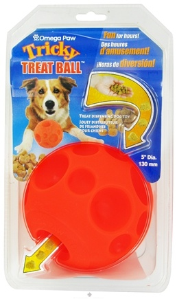 DROPPED: Omega Paw - Tricky Treat Ball Large - 5 in. CLEARANCE PRICED