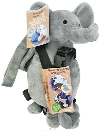 DROPPED: Health Science Labs - Endangered Species Follow Me 2 in 1 Backpack & Safety Harness Elephant - CLEARANCE PRICED
