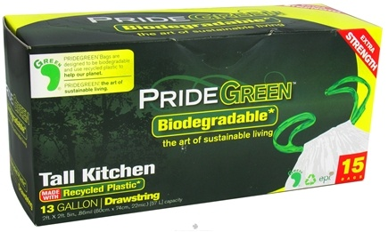 DROPPED: Pride Green - Biodegradable Tall Kitchen 13 Gallon Drawstring Trash Bags - 15 Bags