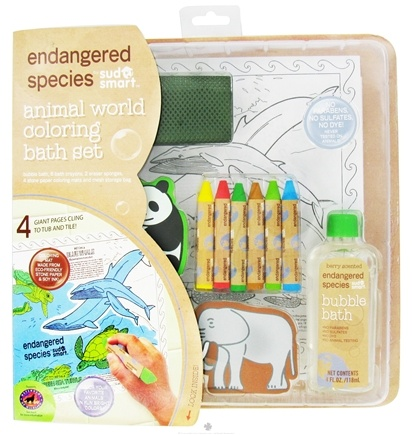 DROPPED: Health Science Labs - Endangered Species Animal World Coloring Bath Set with 4 oz. Bubble Bath Berry Scented - 1.26 oz. CLEARANCE PRICED