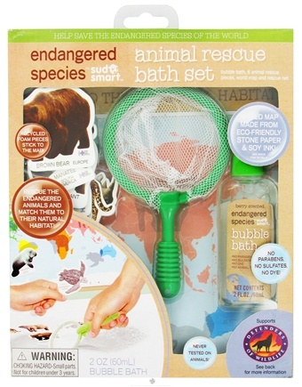 DROPPED: Health Science Labs - Endangered Species Animal Rescue Bath Set with 2 oz. Bubble Bath Berry Scented - CLEARANCE PRICED