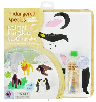 DROPPED: Health Science Labs - Endangered Species Animal Kingdom Bath Puzzles Set with 4 oz. Bubble Bath Berry Scented - CLEARANCE PRICED