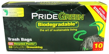 DROPPED: Pride Green - Biodegradable 33 Gallon Drawstring Trash Bags - 10 Bags CLEARANCE PRICED