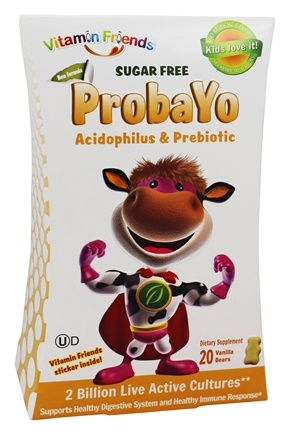 DROPPED: Vitamin Friends - ProbaYo Acidophilus and Prebiotic Sugar-Free Tangerine Flavor - 20 Yogurt Bears - CLEARANCE PRICED