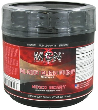 DROPPED: Muscle Gauge Nutrition - Blood Rush Pump Pre Workout Mixed Berry - 225 Grams CLEARANCE PRICED