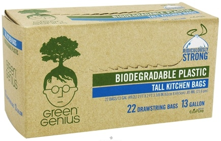 DROPPED: Green Genius - Biodegradable Plastic Tall Kitchen Bags 13 Gallon - 22 Bags