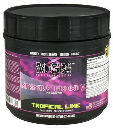 DROPPED: Muscle Gauge Nutrition - Massive Growth Pre-Workout Tropical Lime - 225 Grams CLEARANCE PRICED