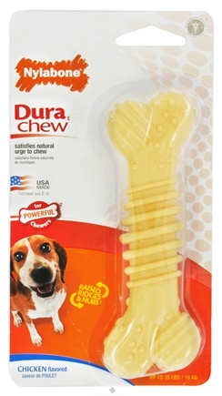 DROPPED: Nylabone - Dura Chew Textured Bone Wolf For Powerful Chewers Up To 35 lbs. Chicken Flavored - CLEARANCE PRICED