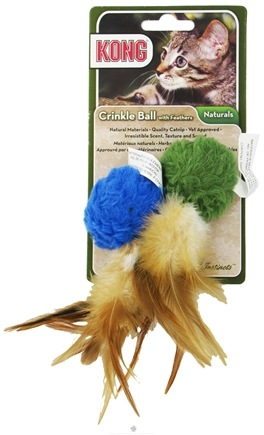DROPPED: Kong - Naturals Crinkle Ball With Feathers Cat Toy - CLEARANCE PRICED